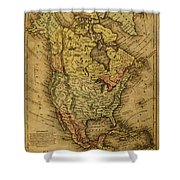 Vintage Map Of North America 1858 Shower Curtain