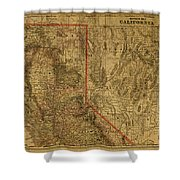 Vintage Map Of Northern California Shower Curtain
