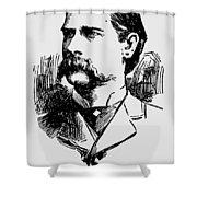 Vintage Newspaper Wyatt Earp Portrait 1896 - T-shirt Shower Curtain