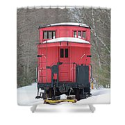 Vintage Red Caboose In Winter Shower Curtain