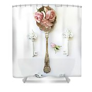 Vintage Spoon Floral Wall Art - Antique Spoon White Shabby Chic Cottage Kitchen Wall Art Home Decor Shower Curtain