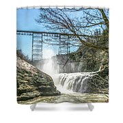 Vintage Train Trestle With Waterfalls Shower Curtain