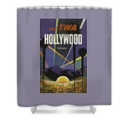 Vintage Travel Poster - Hollywood Shower Curtain