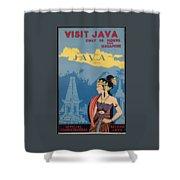 Vintage Travel Poster - Java Shower Curtain