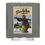 Vintage Travel Poster - Sun Valley, Idaho Shower Curtain