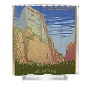 Vintage Zion Travel Poster Shower Curtain