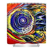 Violet Fish On Red And Yellow Shower Curtain
