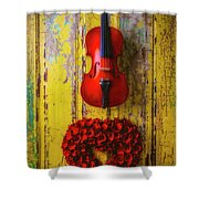 Violin And Heart Wreath Shower Curtain