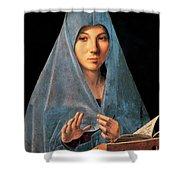 Virgin Of Annunciation Painting By Antonello Di Antonio Dit Antonello Da Messina Shower Curtain