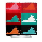 Virginia Pop Art Map Shower Curtain