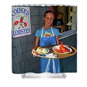 Waitress Serving Lobster  Shower Curtain