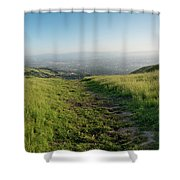 Walking Downhill Large Trail With Silicon Valley At The End Shower Curtain