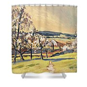 Warm Spring Light In The Fruit Orchard Shower Curtain