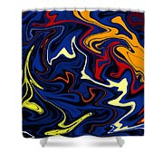 Warped Wet Paint Abstract In Comic Book Colors Shower Curtain by Shelli Fitzpatrick