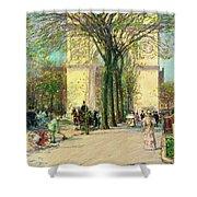 Washington Arch, Spring - Digital Remastered Edition Shower Curtain