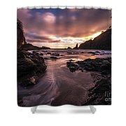 Washington Coast Dusk Tide Motion Shower Curtain