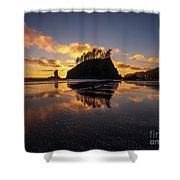 Washington Coast Weeping Lady Sunset Cloudscape Shower Curtain