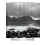Water Hits The Coastline During Storm Shower Curtain