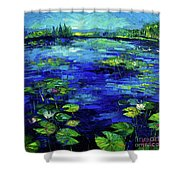 Water Lilies Story Impressionistic Impasto Palette Knife Oil Painting Mona Edulesco Shower Curtain