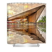 Water Reflection Central Station Rotterdam Shower Curtain