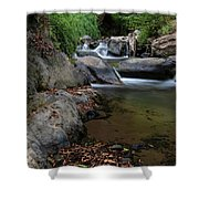 Water Stream On The River With Small Waterfalls Shower Curtain
