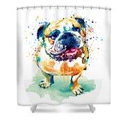 Watercolor Bulldog Shower Curtain