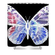 Watercolor Butterfly On Black V Shower Curtain