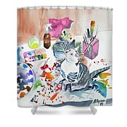 Watercolor - Kitten On My Painting Table Shower Curtain