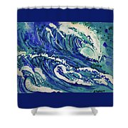 Watercolor - Ocean Wave Design Shower Curtain