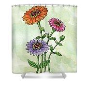 Watercolor Orange Pink Purple Zinnia Flowers Shower Curtain