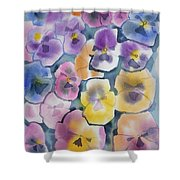Watercolor - Pansy Design Shower Curtain