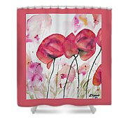 Watercolor - Poppy Portrait Shower Curtain