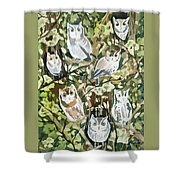 Watercolor - Screech Owl And Forest Design Shower Curtain
