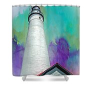 Watercolor Sky Lighthouse Shower Curtain