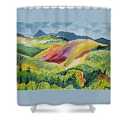 Watercolor - Wilson Mesa Landscape Impression Shower Curtain