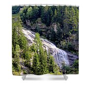 Waterfall In The Mountains. Shower Curtain