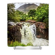 Waterfall Under The Mountain Shower Curtain