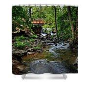 Waterfall With Wooden Bridge Shower Curtain