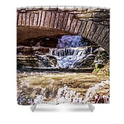 Waterfalls Through Stone Bridge Shower Curtain