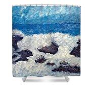Wave Over Rocks Shower Curtain