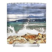 Waves At Work Shower Curtain
