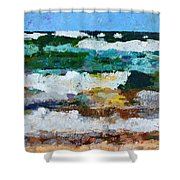 Waves Crash - Painting Version Shower Curtain