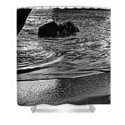 Waves From The Cave In Monochrome Shower Curtain