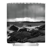 Waves Hitting The Rocks Shower Curtain