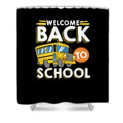 Welcome Back To School Kids School Bus Shower Curtain