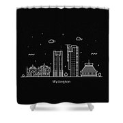 Wellington Skyline Travel Poster Shower Curtain