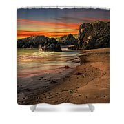 Welsh Coast Sunset Shower Curtain by Adrian Evans