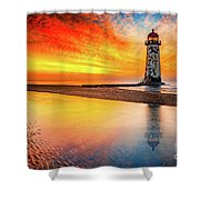 Welsh Lighthouse Sunset Shower Curtain by Adrian Evans