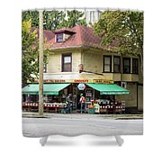 West End Grocery Store Shower Curtain by Juan Contreras