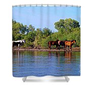 What's Egret Hunting Shower Curtain